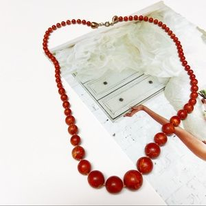 Vintage Red Marble Style Hard Beaded Necklace